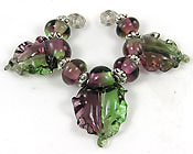 'AMETHYST & PERIDOT HAZE'  Set of 3 Lampwork Leaves + Spacers