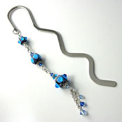 'Aqua Lampwork Bead & Crystal'  Bookmark