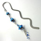 'Aqua Lampwork Bead & Crystal'  Bookmark