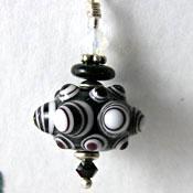 Black & White Pinwheel  Lampwork Bead  - Sterling Silver Charm