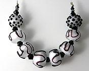 'CLASSIC BLACK & WHITE'   Set of 8 Lampwork Glass Beads