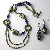 'BRONZED AUSSIE'   Beaded Cobalt Blue, Black & Antique Bronze Necklace