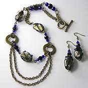 'BRONZED AUSSIE'   Beaded Cobalt Blue, Black & Antique Bronze Necklace