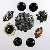 'GALAXIES'   Silver & Black Lampwork Glass Bead Set