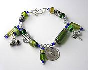 'ECCENTRIC GREEN'  Handmade Beaded Wire Bracelet