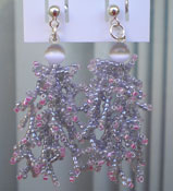 Grey Hand Stitched Seed Bead 'Coral' Earrings