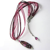 Maroon Necklace with Lampwork Bead
