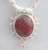 'PINK AGATE'  Hand Stitched Beaded Necklace with Pink Agate Cabachon