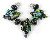 'RAINBOW LEAVES'   Set of 3 Lampwork Glass Leaves + Spacers