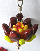 Red Lampwork Flower Charm - Sterling Silver