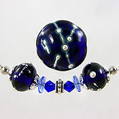 'ROYAL SILVER'  Lampwork Focal Glass Bead + Spacers