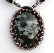 'OBSIDIAN BEAUTY'   Hand Made Necklace with Beaded Snowflake Obsidian Cabachon