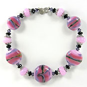 'STRAWBERRY SHAKE' <br> <i><FONT POINT-SIZE=&quot;8pt&quot;>Lampwork Set of 5 Beads + Spacers</i></FONT>