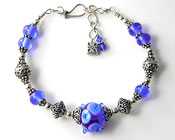 'RHAPSODY IN BLUE' Lampwork Bracelet with Bali Sterling Silver