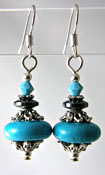 Turquoise & Hematite Semi Precious Gemstone Earrings