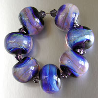 Purple Silver Glass Lampwork Beads - Set of 7