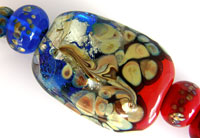 'RED and BLUE RAKU' <br> <i><FONT POINT-SIZE=&quot;8pt&quot;>Lampwork Focal Bead + Spacers</i></FONT>