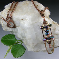 Copper Necklace & Crystal Pagoda Pendant