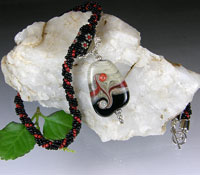Black & Red Hand Stitched Beaded Necklace with Lampwork Bead
