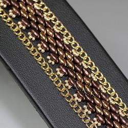 Bronze & Gold Stitched Super Duo Bead & Chain Bracelet