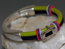 Purple & Lime Green Two Strand Round Leather Bracelet with Silver Focal