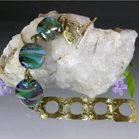 Lampwork Bead Bracelet with Brass Links - Handmade