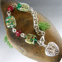 Green & Red Lampwork Bead & Silver Chain Bracelet