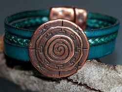 Teal & Copper Multi Strand Leather Bracelet