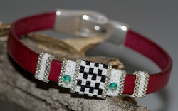 Fuschia Pink, Black & White Flat Leather Bracelet