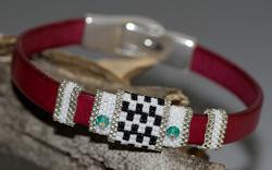 Fuschia Pink, Black & White Flat Leather Bracelet