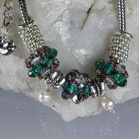 SILVER BRACELET - Teal & Grey Crystal - Pandora Style