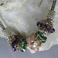 SILVER BRACELET - Pink, Purple & Green Crystal - Pandora Style