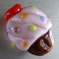 Chocolate & Pink Cupcake - Lampwork Glass Bead Charm