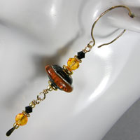 Earrings - Gold Filled, Lampwork Bead and Crystals