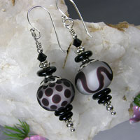Black & White Earrings -  Bali Sterling Silver, Lampwork Bead & Crystals