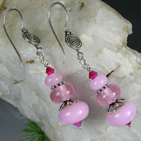 Pink Earrings -  Bali Sterling Silver, Lampwork Bead & Crystals