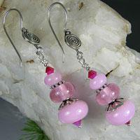 Pink Earrings -  Bali Sterling Silver, Lampwork Bead & Crystals