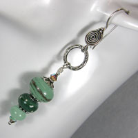 Earrings - Sterling Silver, Lampwork Bead and Crystals