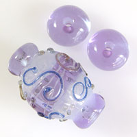 'ICE MAIDEN'  Lilac/Blue Lampwork Focal Glass Bead