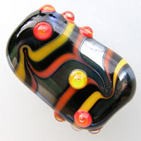 'METAL MAGIC'  Black Metallic Lampwork Focal Glass Bead  CLEARANCE!!!