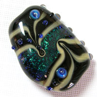 'JEWEL'  Black with Blue Dichroic Lampwork Focal Glass Bead - CLEARANCE!!!