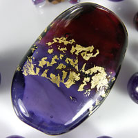 'ROYALTY' - Purple, Maroon & Gold Lampwork Focal Glass Bead