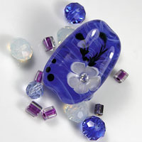 'LAGUNA BLUE' - Blue Lampwork Focal Glass Bead with Cubic Zirconia