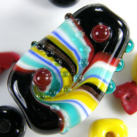 'GLEE' - Black, Teal, Yellow, Red, & White Lampwork Focal Glass Bead + Spacers