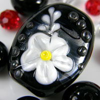 Black & White Raised Flower Lampwork Focal Glass Bead + Spacers