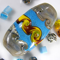 Lampwork Focal Glass Bead - Turquoise, Yellow, Brown & Grey