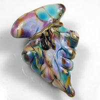 Arrowhead Pendant Lampwork Focal - Purple, Pink & Green
