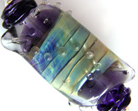 'PURPLE JEWEL' Lampwork Focal Glass Bead + Spacers