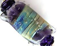'PURPLE JEWEL' Lampwork Focal Glass Bead + Spacers
