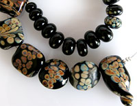 'BLACK MAGIC'  Lampwork Focal Glass Beads + Spacers